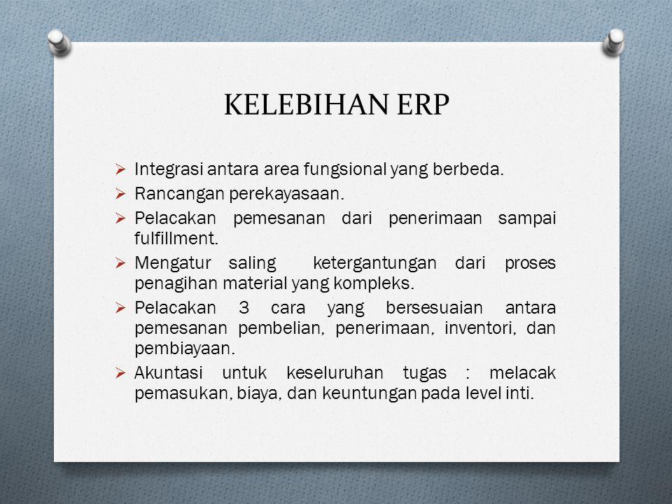 KELEBIHAN ERP  Integrasi antara area fungsional yang berbeda.  Rancangan perekayasaan.  Pelacakan pemesanan dari penerimaan sampai fulfillment.  M