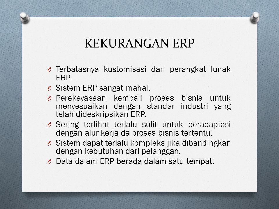 KEKURANGAN ERP O Terbatasnya kustomisasi dari perangkat lunak ERP.
