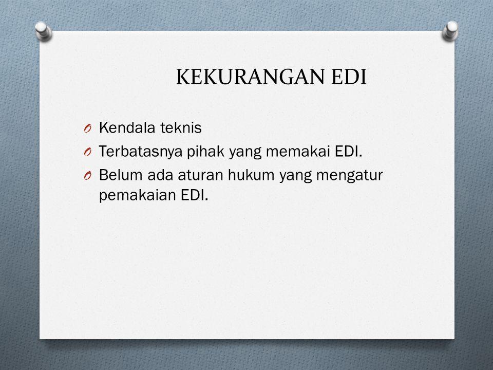 KEKURANGAN EDI O Kendala teknis O Terbatasnya pihak yang memakai EDI. O Belum ada aturan hukum yang mengatur pemakaian EDI.