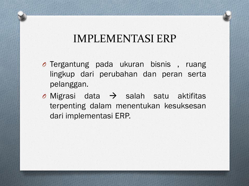 IMPLEMENTASI ERP O Tergantung pada ukuran bisnis, ruang lingkup dari perubahan dan peran serta pelanggan.