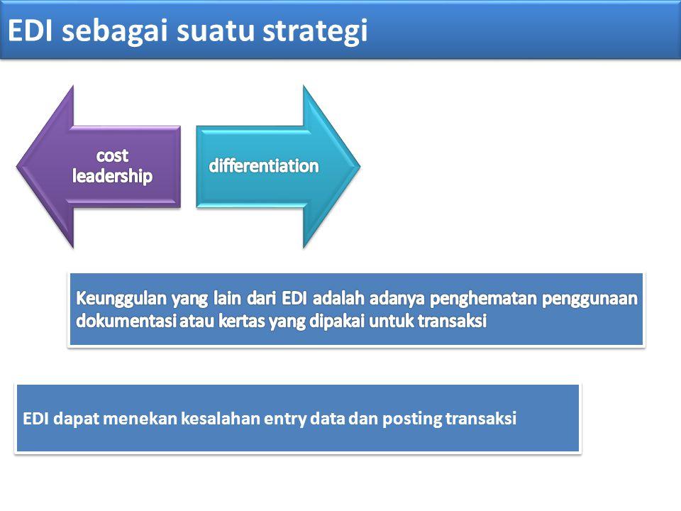 EDI sebagai suatu strategi EDI dapat menekan kesalahan entry data dan posting transaksi