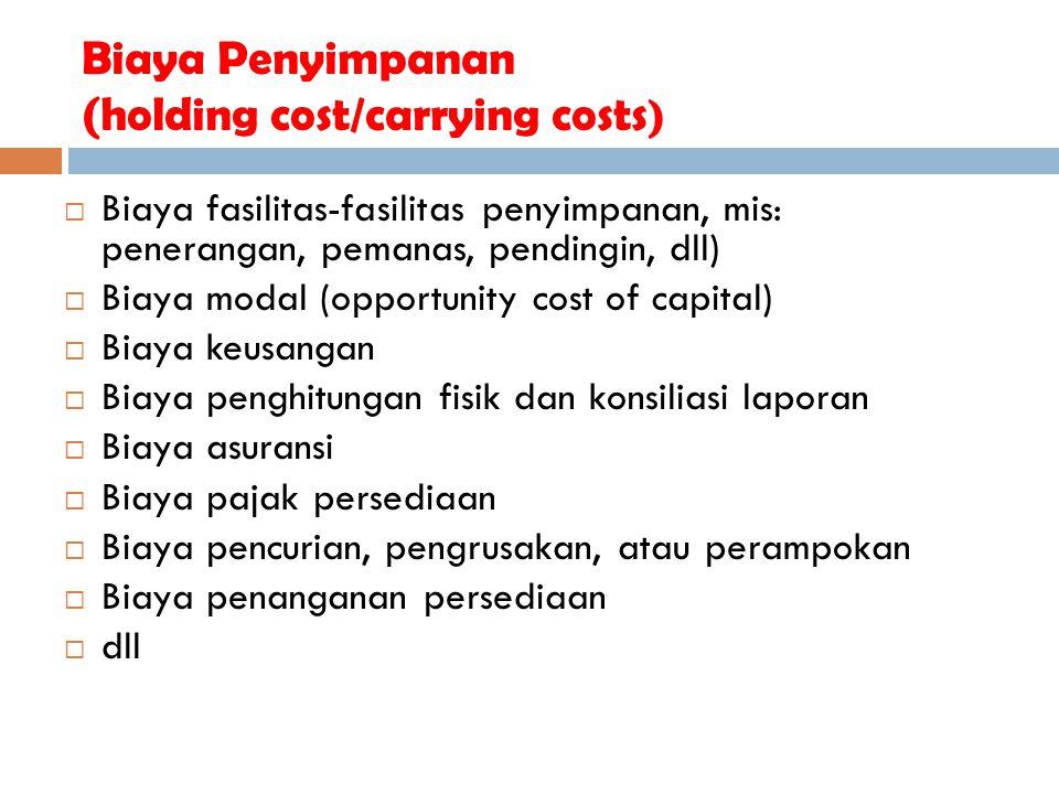 Biaya Penyimpanan (holding cost/carrying costs )  Biaya fasilitas-fasilitas penyimpanan, mis: penerangan, pemanas, pendingin, dll)  Biaya modal (opp