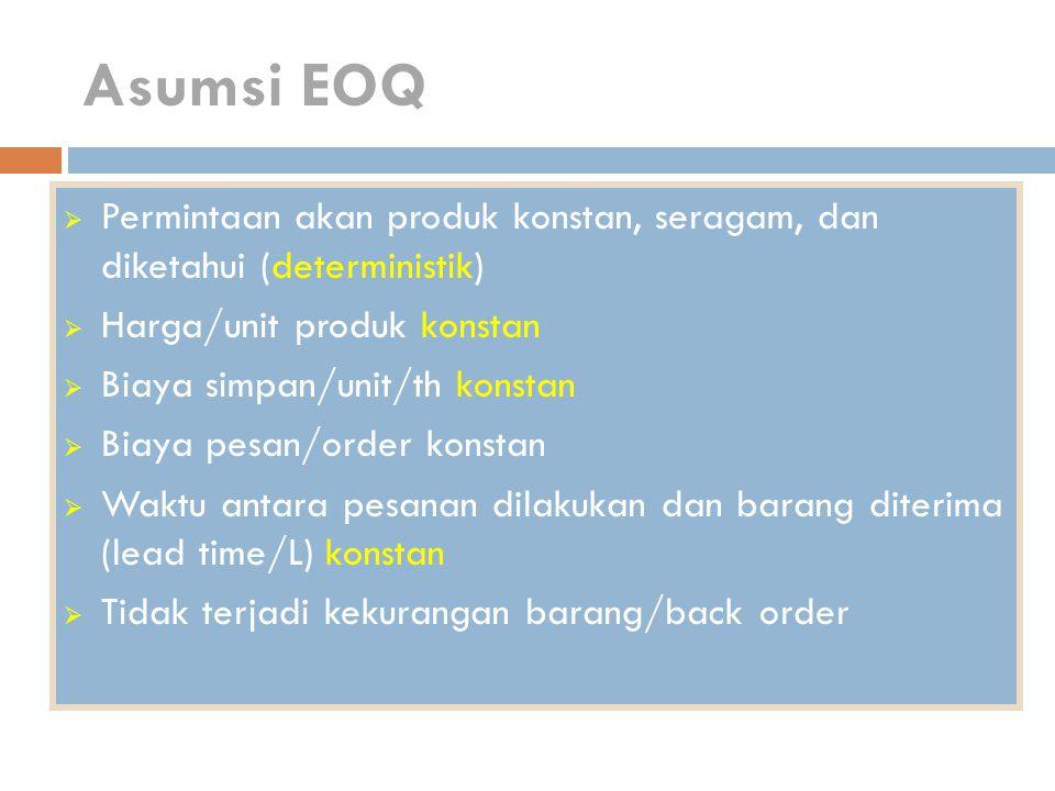 Asumsi EOQ  Permintaan akan produk konstan, seragam, dan diketahui (deterministik)  Harga/unit produk konstan  Biaya simpan/unit/th konstan  Biaya