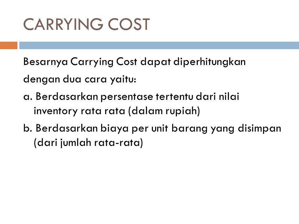 CARRYING COST Besarnya Carrying Cost dapat diperhitungkan dengan dua cara yaitu: a. Berdasarkan persentase tertentu dari nilai inventory rata rata (da