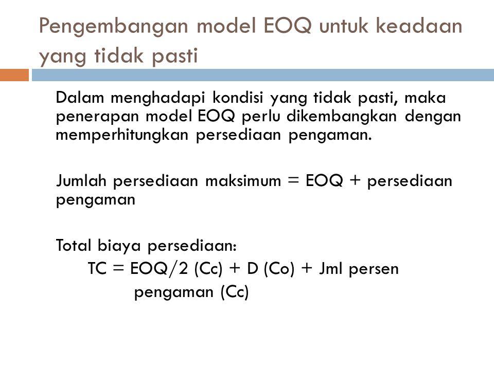 Pengembangan model EOQ untuk keadaan yang tidak pasti Dalam menghadapi kondisi yang tidak pasti, maka penerapan model EOQ perlu dikembangkan dengan me