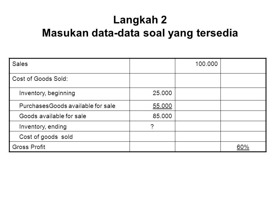 Langkah 2 Masukan data-data soal yang tersedia Sales100.000 Cost of Goods Sold: Inventory, beginning25.000 PurchasesGoods available for sale55.000 Goods available for sale85.000 Inventory, ending.