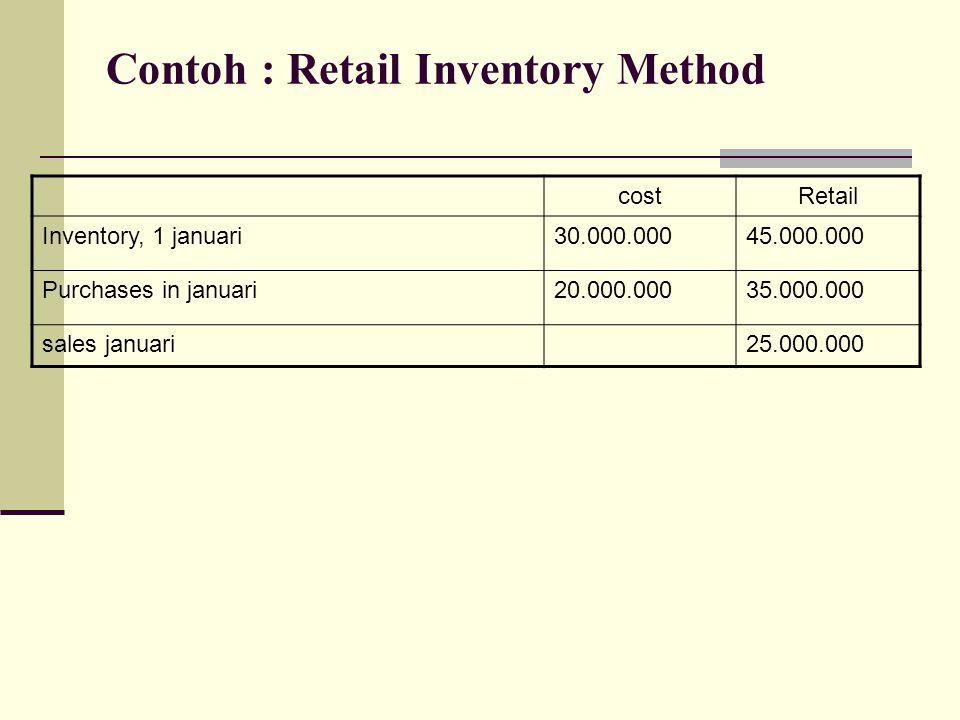 Contoh : Retail Inventory Method costRetail Inventory, 1 januari30.000.00045.000.000 Purchases in januari20.000.00035.000.000 sales januari25.000.000