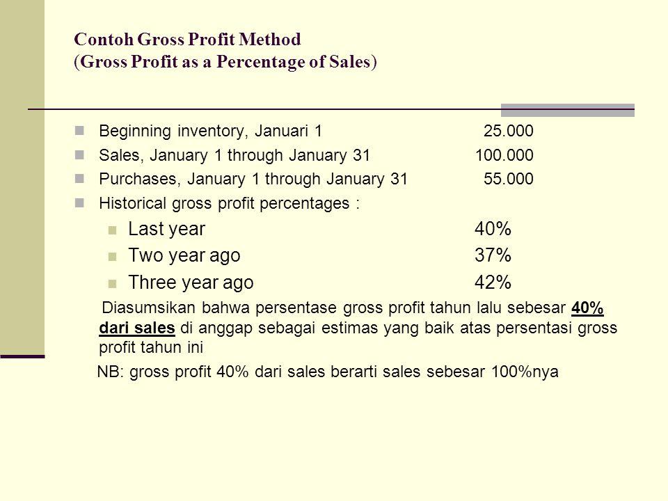Contoh Gross Profit Method (Gross Profit as a Percentage of Sales) Beginning inventory, Januari 1 25.000 Sales, January 1 through January 31 100.000 P