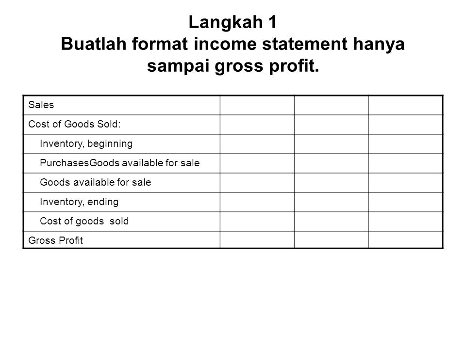 Langkah 2 Masukan data-data soal yang tersedia Sales100.000 Cost of Goods Sold: Inventory, beginning25.000 PurchasesGoods available for sale55.000 Goods available for sale85.000 Inventory, ending.