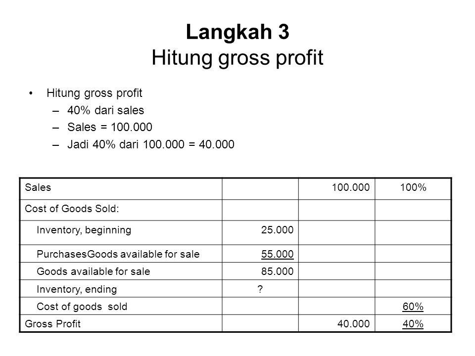 Langkah 3 Hitung gross profit Hitung gross profit –40% dari sales –Sales = 100.000 –Jadi 40% dari 100.000 = 40.000 Sales100.000100% Cost of Goods Sold