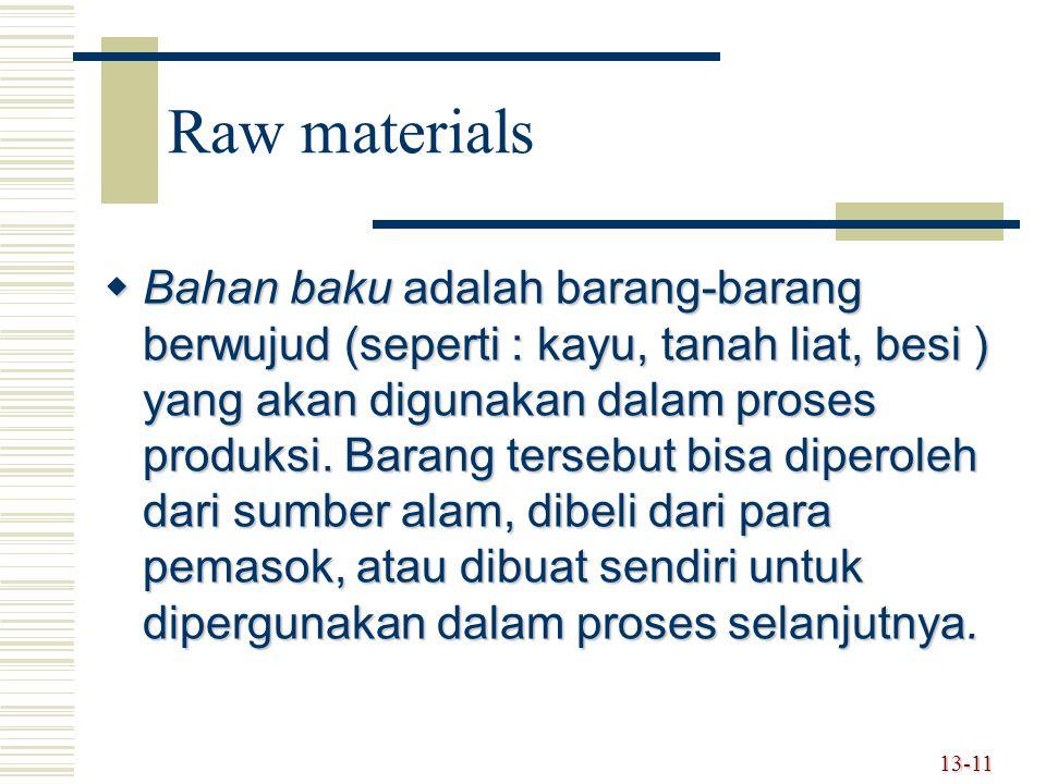 13-11 Raw materials  Bahan baku adalah barang-barang berwujud (seperti : kayu, tanah liat, besi ) yang akan digunakan dalam proses produksi.