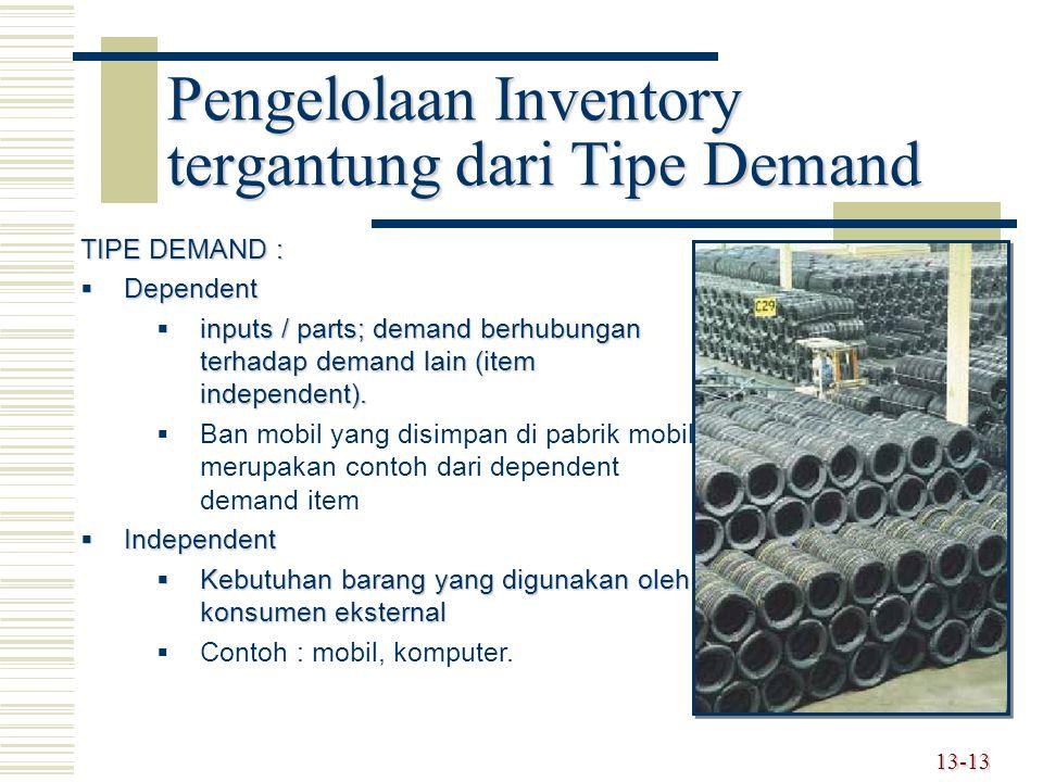 13-13 Pengelolaan Inventory tergantung dari Tipe Demand TIPE DEMAND :  Dependent  inputs / parts; demand berhubungan terhadap demand lain (item inde