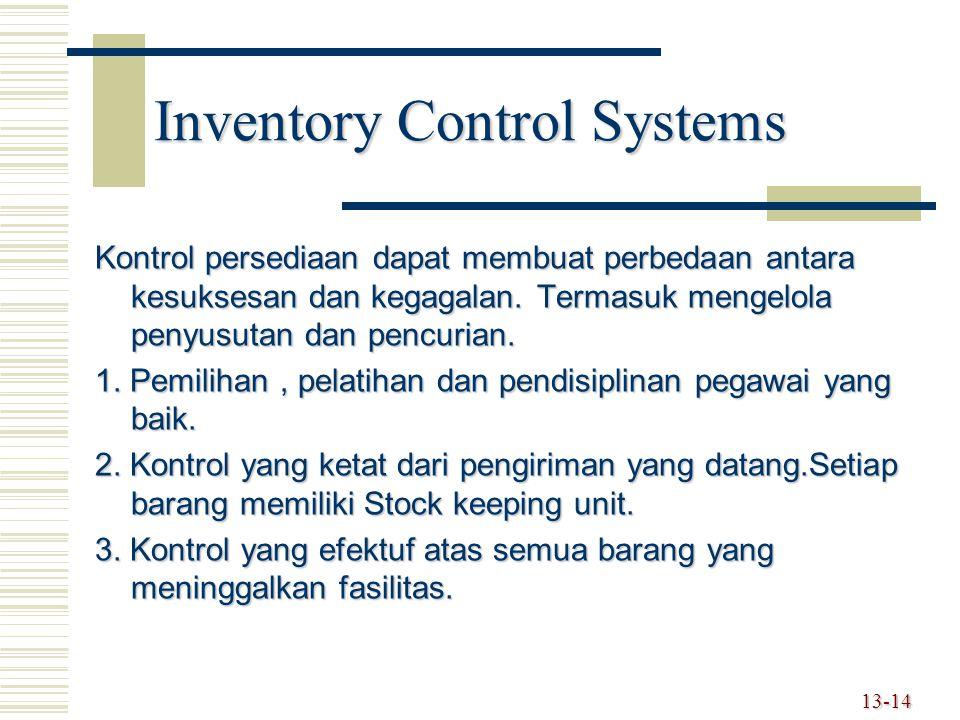 Inventory Control Systems Kontrol persediaan dapat membuat perbedaan antara kesuksesan dan kegagalan. Termasuk mengelola penyusutan dan pencurian. 1.