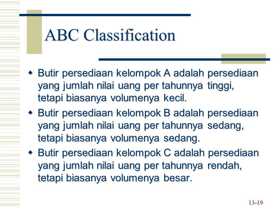13-19 ABC Classification  Butir persediaan kelompok A adalah persediaan yang jumlah nilai uang per tahunnya tinggi, tetapi biasanya volumenya kecil.