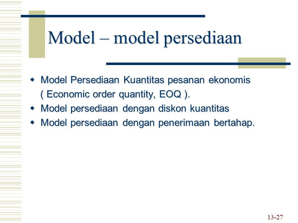 Model – model persediaan  Model Persediaan Kuantitas pesanan ekonomis ( Economic order quantity, EOQ ). ( Economic order quantity, EOQ ).  Model per