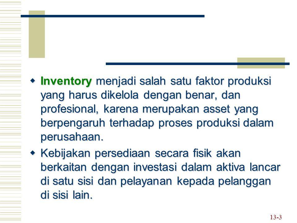  Inventory menjadi salah satu faktor produksi yang harus dikelola dengan benar, dan profesional, karena merupakan asset yang berpengaruh terhadap proses produksi dalam perusahaan.