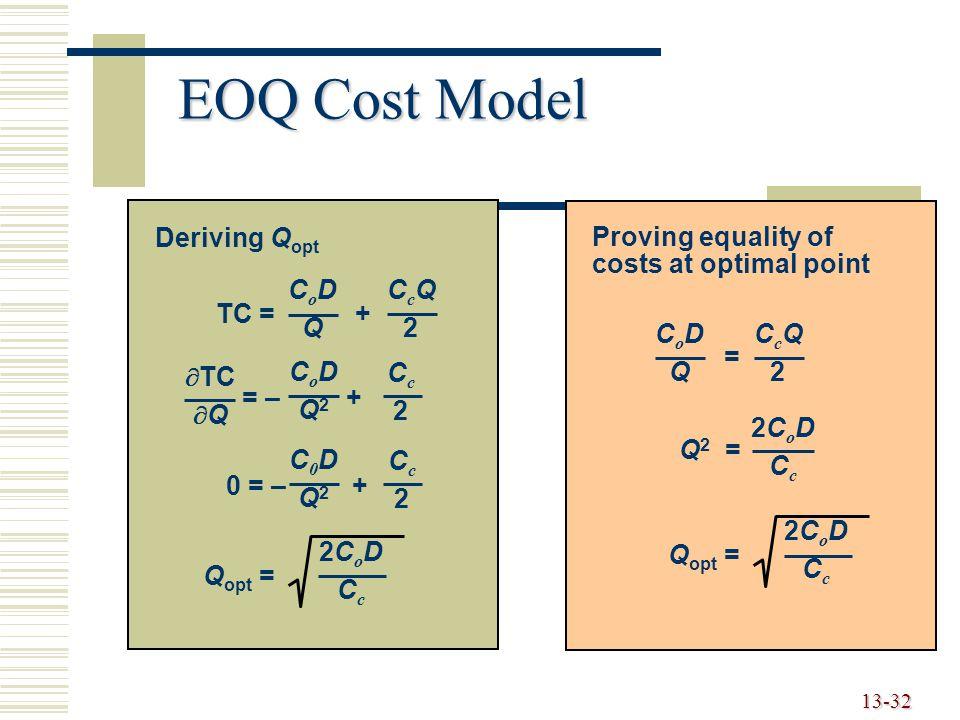 13-32 EOQ Cost Model TC = + CoDQCoDQ CcQ2CcQ2 = – + CoDQ2CoDQ2 Cc2Cc2  TC  Q 0 = – + C0DQ2C0DQ2 Cc2Cc2 Q opt = 2CoDCc2CoDCc Deriving Q opt Proving equality of costs at optimal point = CoDQCoDQ CcQ2CcQ2 Q 2 = 2CoDCc2CoDCc Q opt = 2CoDCc2CoDCc