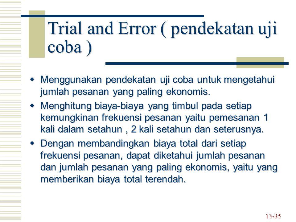 Trial and Error ( pendekatan uji coba )  Menggunakan pendekatan uji coba untuk mengetahui jumlah pesanan yang paling ekonomis.  Menghitung biaya-bia