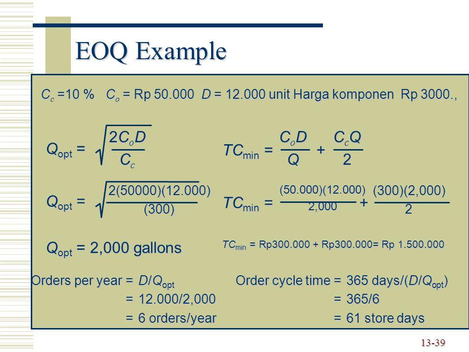 13-39 EOQ Example C c =10 % C o = Rp 50.000 D = 12.000 unit Harga komponen Rp 3000., Q opt = 2CoD2CoDCcCc2CoD2CoDCcCc 2(50000)(12.000) (300) Q opt = 2
