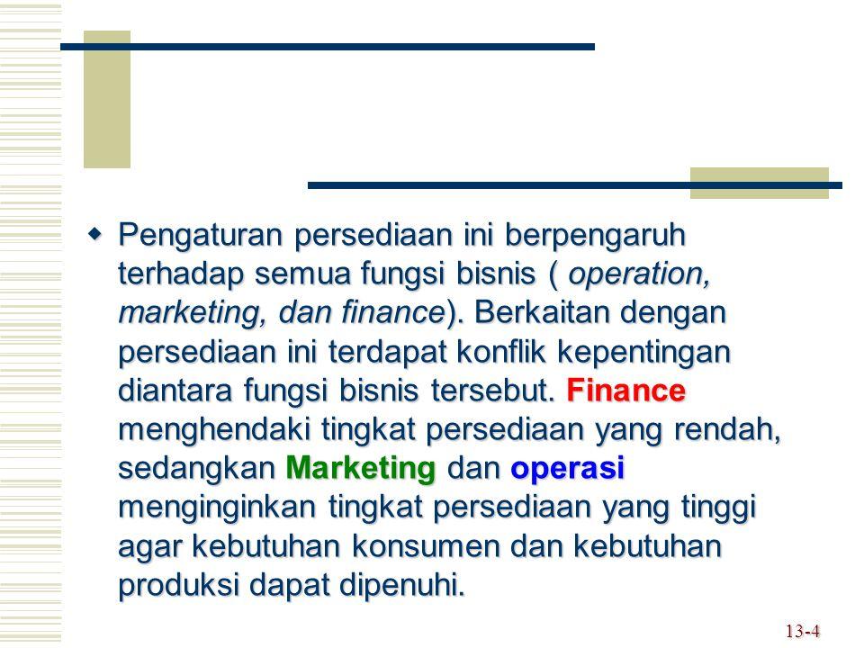  Pengaturan persediaan ini berpengaruh terhadap semua fungsi bisnis ( operation, marketing, dan finance). Berkaitan dengan persediaan ini terdapat ko