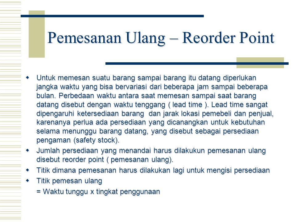 Pemesanan Ulang – Reorder Point  Untuk memesan suatu barang sampai barang itu datang diperlukan jangka waktu yang bisa bervariasi dari beberapa jam sampai beberapa bulan.