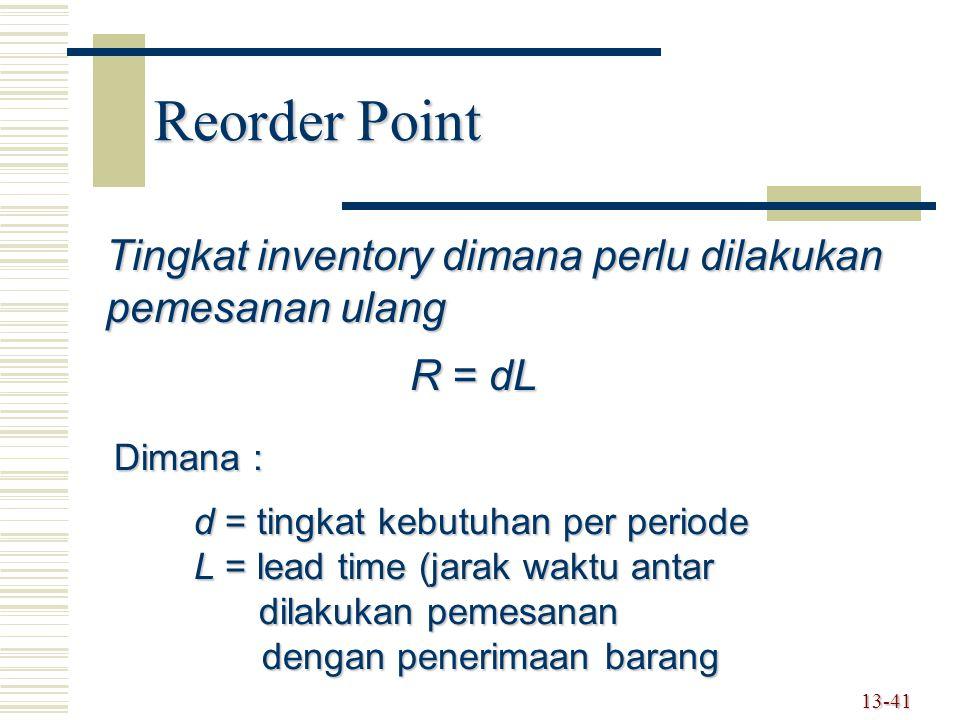 13-41 Reorder Point Tingkat inventory dimana perlu dilakukan pemesanan ulang R = dL Dimana : d = tingkat kebutuhan per periode L = lead time (jarak waktu antar dilakukan pemesanan dilakukan pemesanan dengan penerimaan barang dengan penerimaan barang