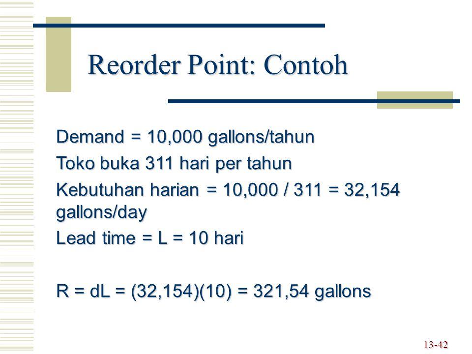 13-42 Reorder Point: Contoh Demand = 10,000 gallons/tahun Toko buka 311 hari per tahun Kebutuhan harian = 10,000 / 311 = 32,154 gallons/day Lead time = L = 10 hari R = dL = (32,154)(10) = 321,54 gallons