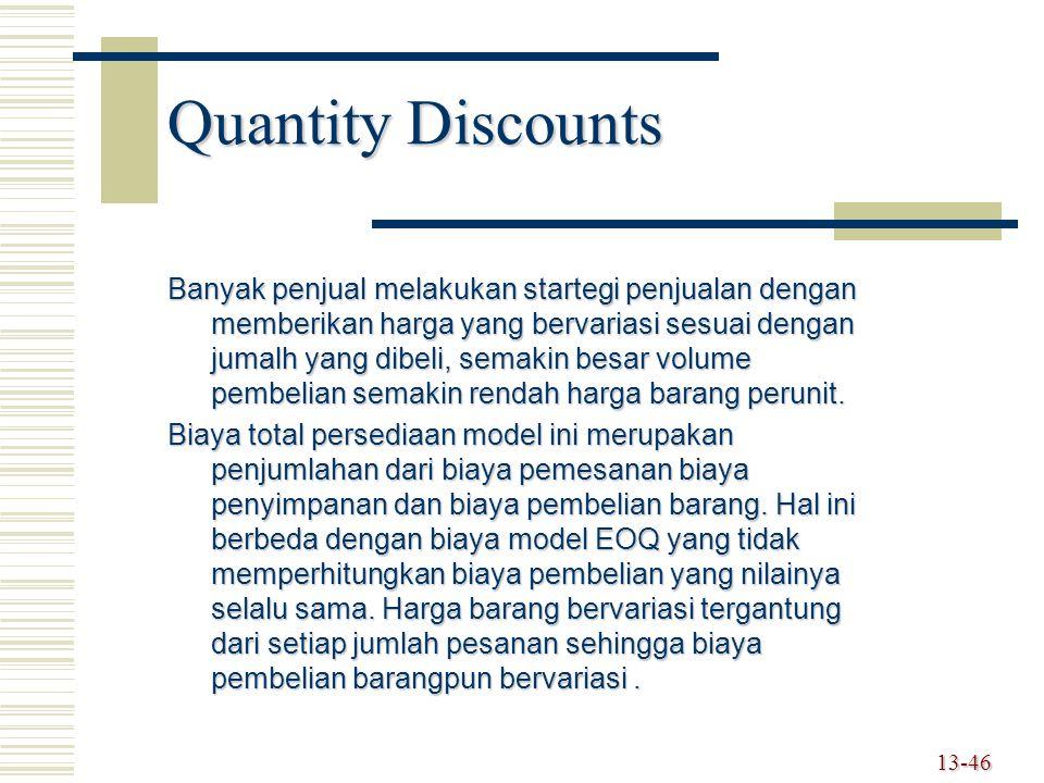 13-46 Quantity Discounts Banyak penjual melakukan startegi penjualan dengan memberikan harga yang bervariasi sesuai dengan jumalh yang dibeli, semakin