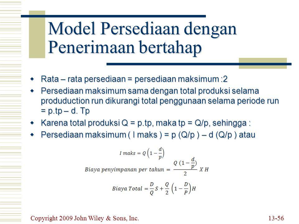 Model Persediaan dengan Penerimaan bertahap  Rata – rata persediaan = persediaan maksimum :2  Persediaan maksimum sama dengan total produksi selama