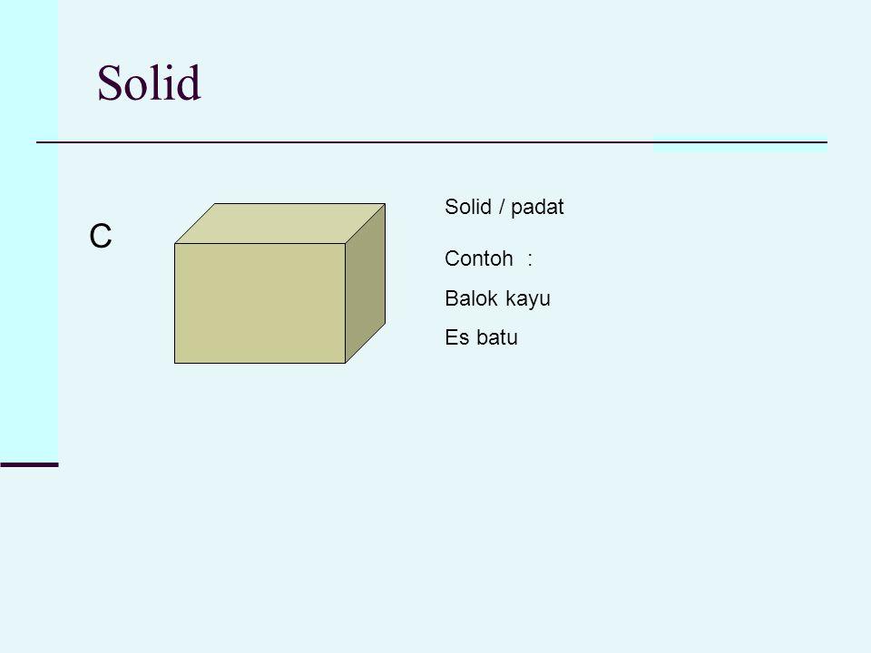 Solid C Solid / padat Contoh : Balok kayu Es batu