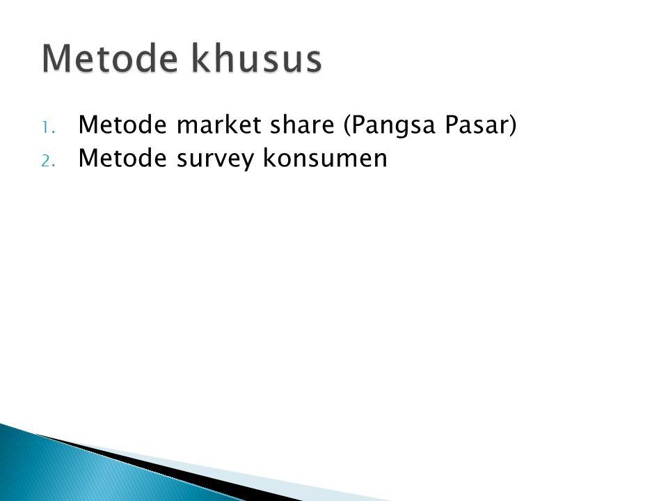 1. Metode market share (Pangsa Pasar) 2. Metode survey konsumen