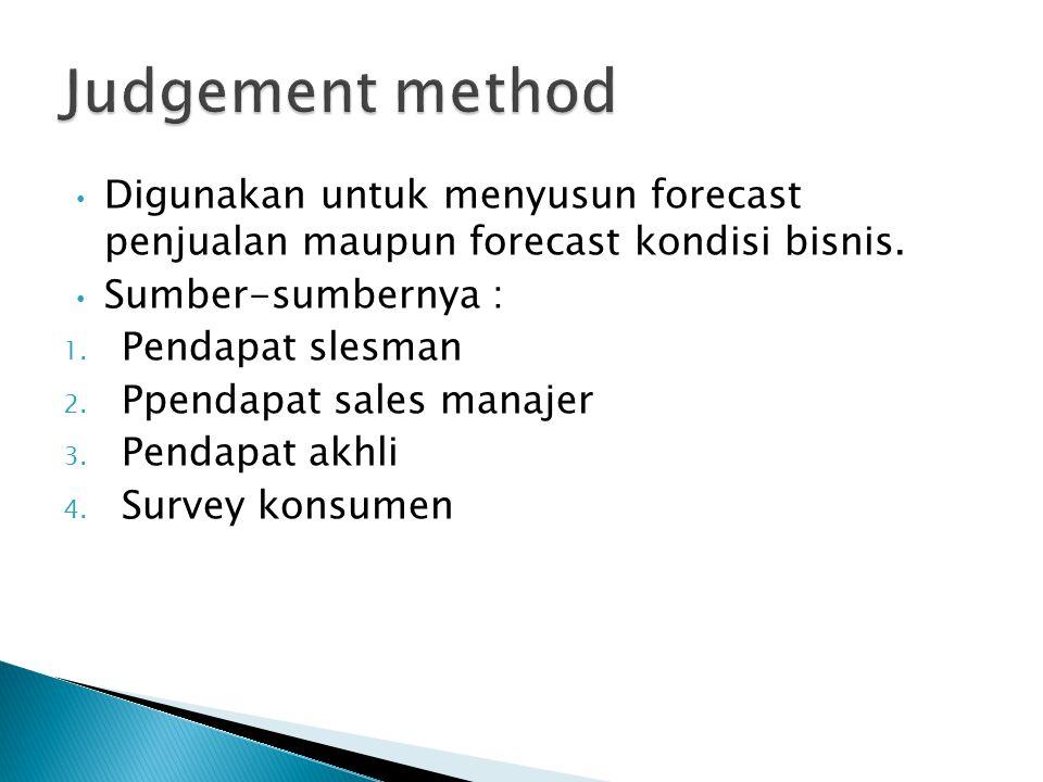 Digunakan untuk menyusun forecast penjualan maupun forecast kondisi bisnis. Sumber-sumbernya : 1. Pendapat slesman 2. Ppendapat sales manajer 3. Penda