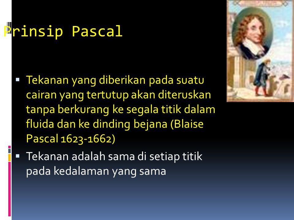 Prinsip Pascal  Tekanan yang diberikan pada suatu cairan yang tertutup akan diteruskan tanpa berkurang ke segala titik dalam fluida dan ke dinding be