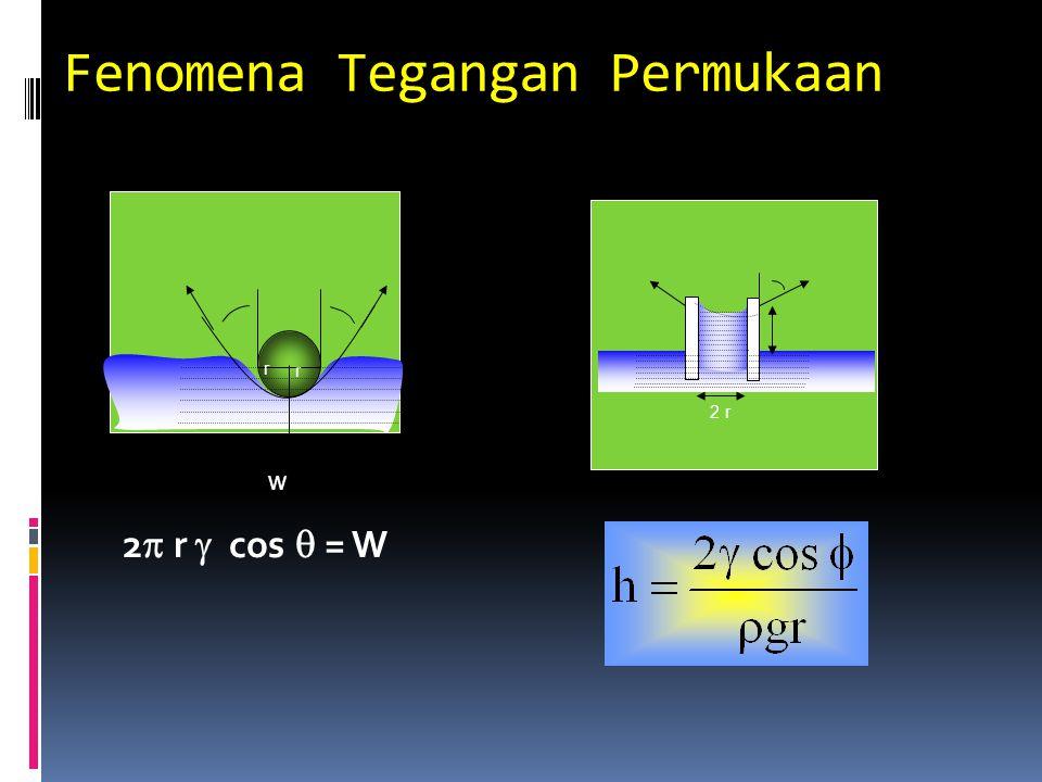 Fenomena Tegangan Permukaan 2  r  cos  = W r r w 2 r