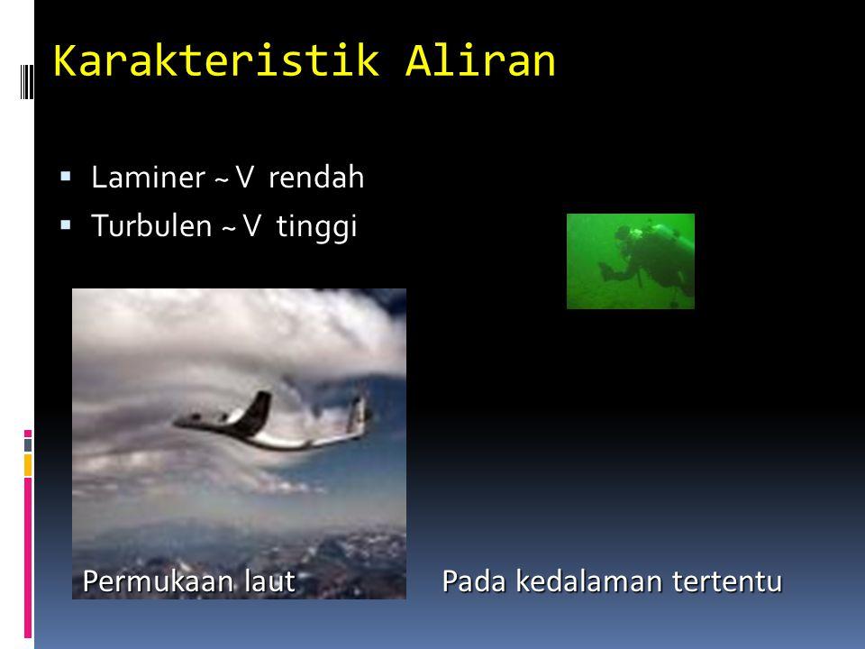 Karakteristik Aliran  Laminer ~ V rendah  Turbulen ~ V tinggi Permukaan laut Permukaan laut Pada kedalaman tertentu
