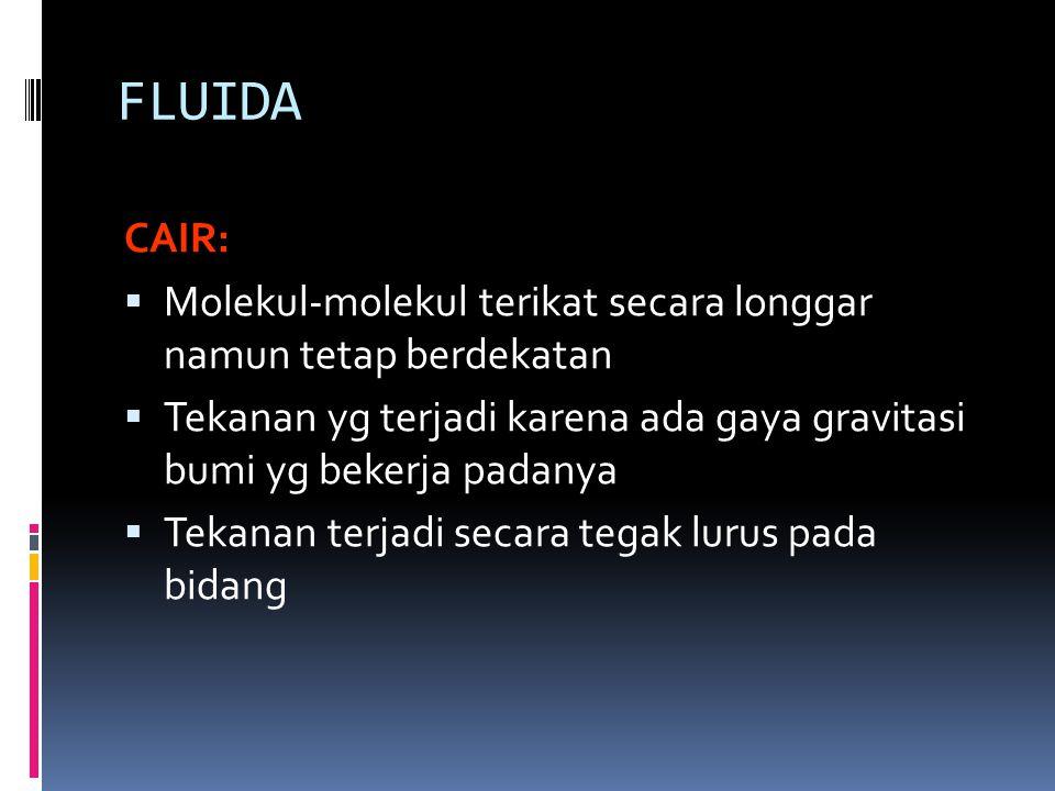 FLUIDA CAIR:  Molekul-molekul terikat secara longgar namun tetap berdekatan  Tekanan yg terjadi karena ada gaya gravitasi bumi yg bekerja padanya 