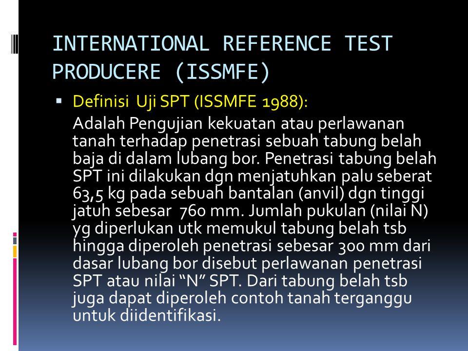 INTERNATIONAL REFERENCE TEST PRODUCERE (ISSMFE)  Definisi Uji SPT (ISSMFE 1988): Adalah Pengujian kekuatan atau perlawanan tanah terhadap penetrasi s