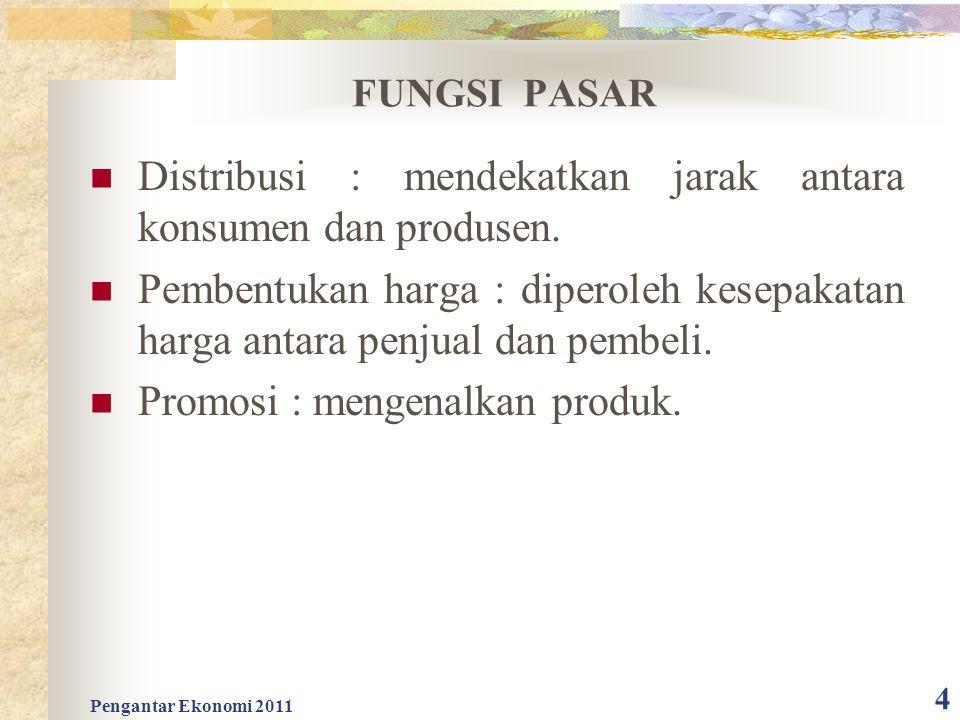 FUNGSI PASAR Distribusi : mendekatkan jarak antara konsumen dan produsen. Pembentukan harga : diperoleh kesepakatan harga antara penjual dan pembeli.