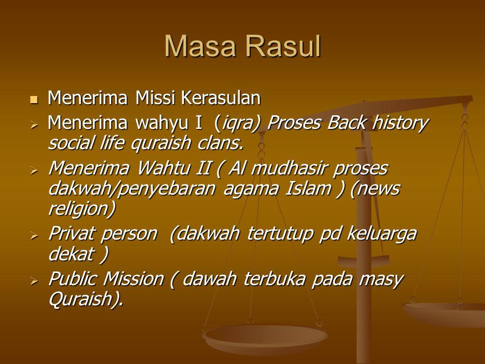 Masa Rasul Menerima Missi Kerasulan Menerima Missi Kerasulan  Menerima wahyu I (iqra) Proses Back history social life quraish clans.