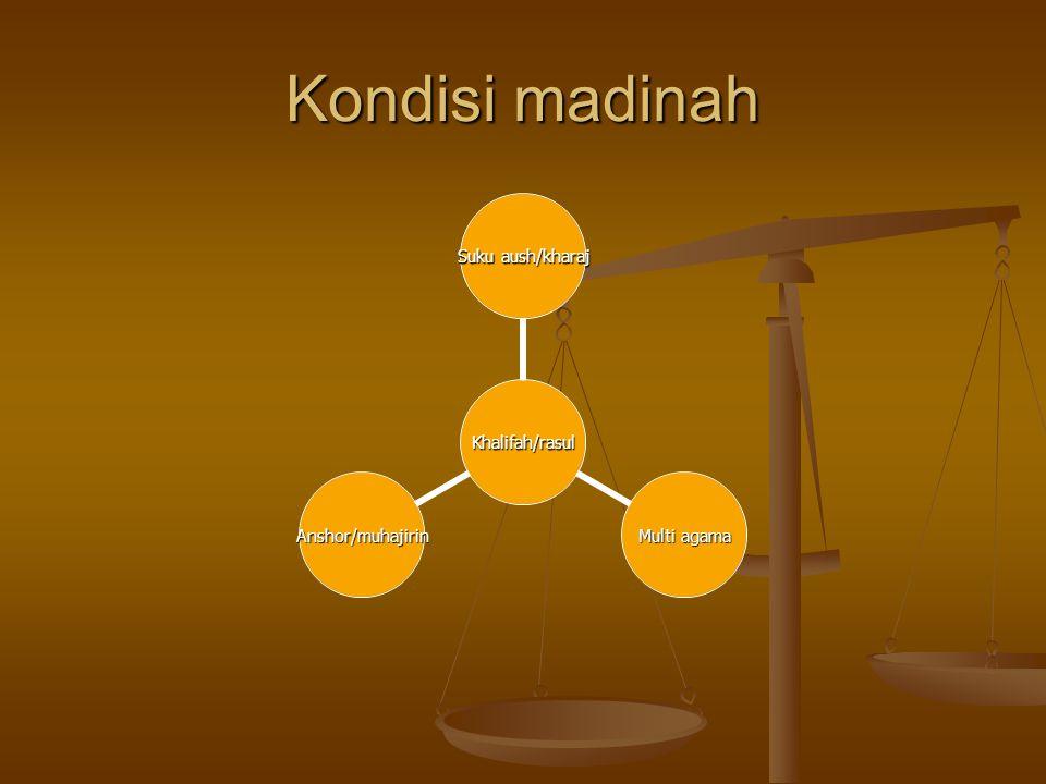 Kondisi madinah Khalifah/rasul Suku aush/kharaj Multi agama Anshor/muhajirin