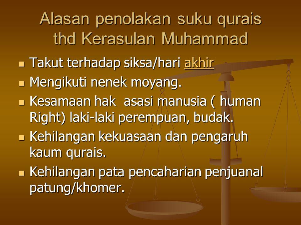 Alasan penolakan suku qurais thd Kerasulan Muhammad Takut terhadap siksa/hari akhir Takut terhadap siksa/hari akhirakhir Mengikuti nenek moyang.
