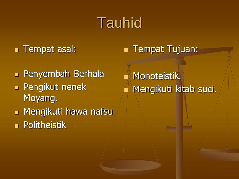 Tauhid Tempat asal: Tempat asal: Penyembah Berhala Penyembah Berhala Pengikut nenek Moyang.