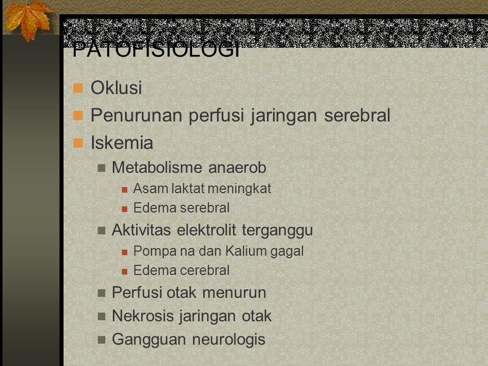 PATOFISIOLOGI Oklusi Penurunan perfusi jaringan serebral Iskemia Metabolisme anaerob Asam laktat meningkat Edema serebral Aktivitas elektrolit tergang