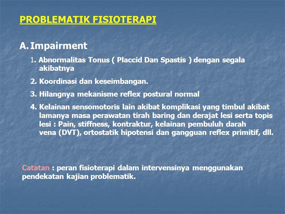 PROBLEMATIK FISIOTERAPI A.Impairment 1. Abnormalitas Tonus ( Placcid Dan Spastis ) dengan segala akibatnya 2. Koordinasi dan keseimbangan. 3. Hilangny
