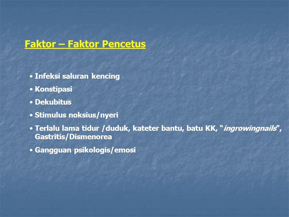 "Faktor – Faktor Pencetus Infeksi saluran kencing Konstipasi Dekubitus Stimulus noksius/nyeri Terlalu lama tidur /duduk, kateter bantu, batu KK, ""ingro"