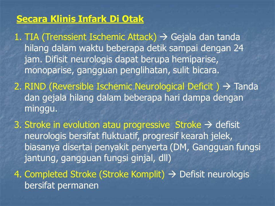 Secara Klinis Infark Di Otak 1.TIA (Trenssient Ischemic Attack)  Gejala dan tanda hilang dalam waktu beberapa detik sampai dengan 24 jam. Difisit neu