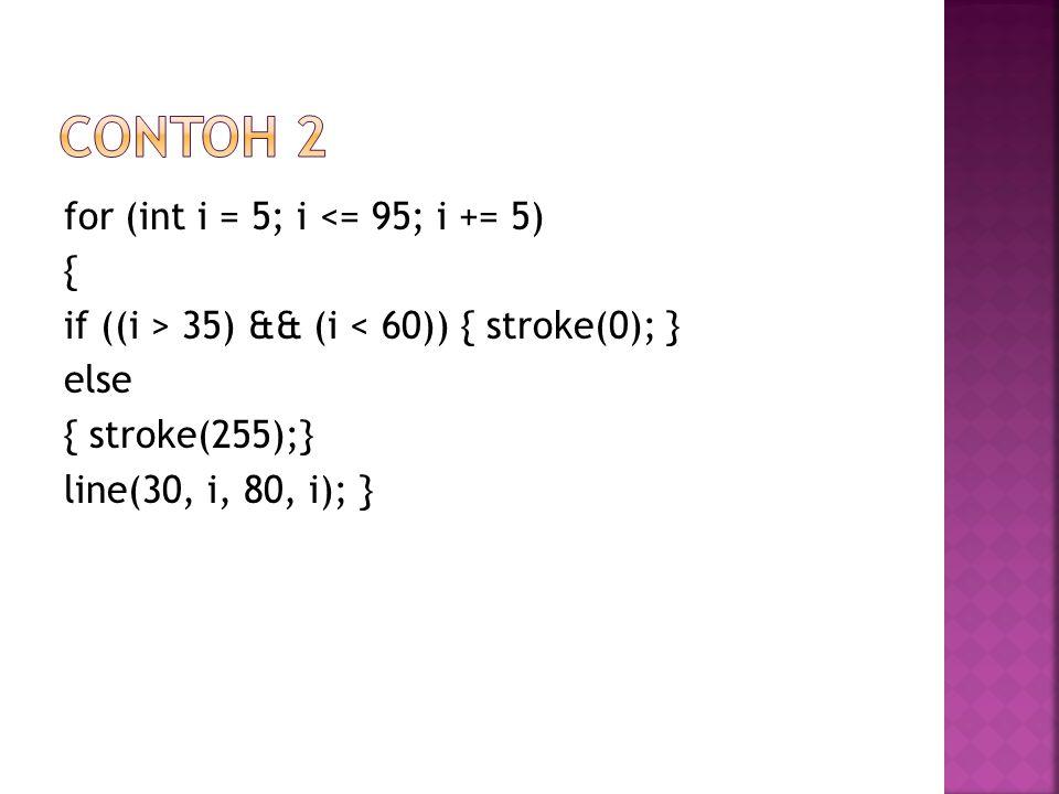 for (int i = 5; i <= 95; i += 5) { if ((i > 35) && (i < 60)) { stroke(0); } else { stroke(255);} line(30, i, 80, i); }
