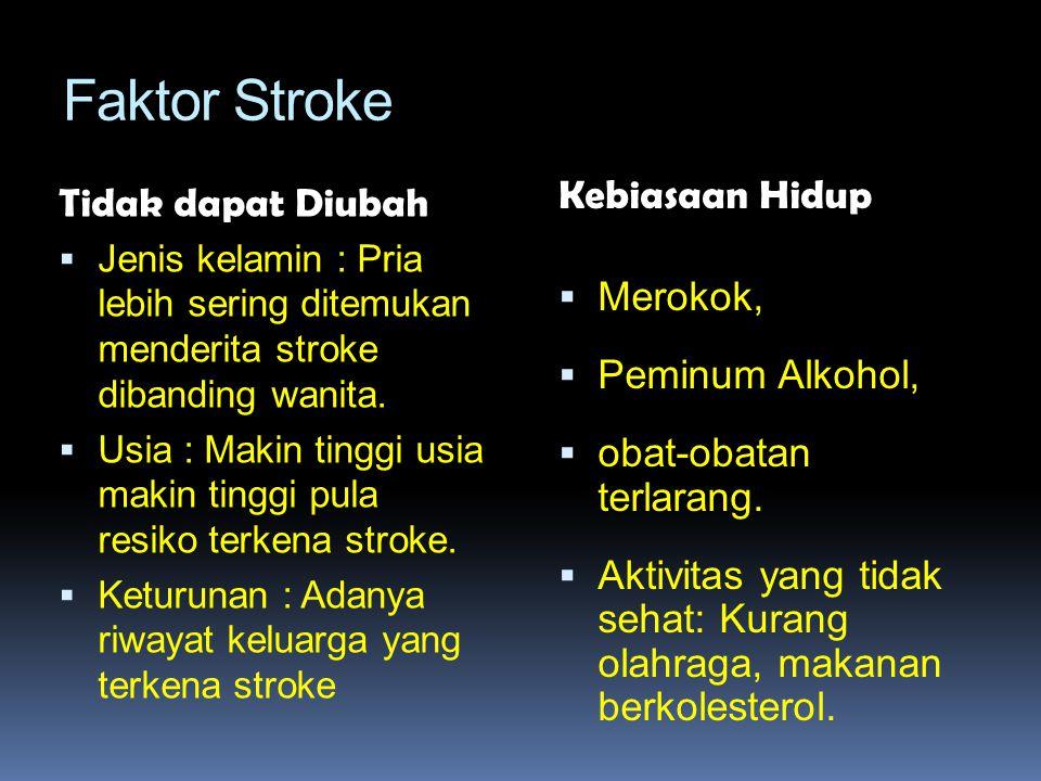Faktor Stroke Tidak dapat Diubah  Jenis kelamin : Pria lebih sering ditemukan menderita stroke dibanding wanita.  Usia : Makin tinggi usia makin tin