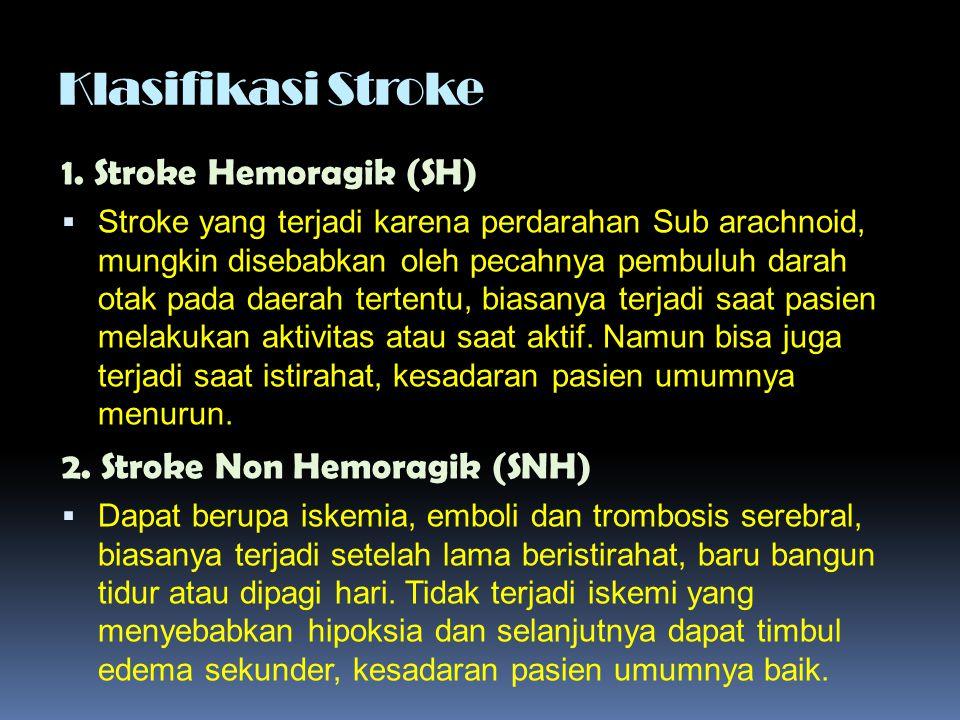 Klasifikasi Stroke 1. Stroke Hemoragik (SH)  Stroke yang terjadi karena perdarahan Sub arachnoid, mungkin disebabkan oleh pecahnya pembuluh darah ota
