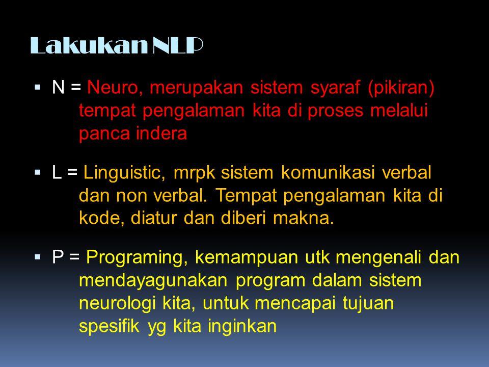Lakukan NLP  N = Neuro, merupakan sistem syaraf (pikiran) tempat pengalaman kita di proses melalui panca indera  L = Linguistic, mrpk sistem komunik